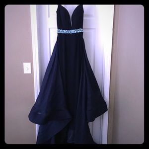 Navy blue jersey gown with aqua blue stoning